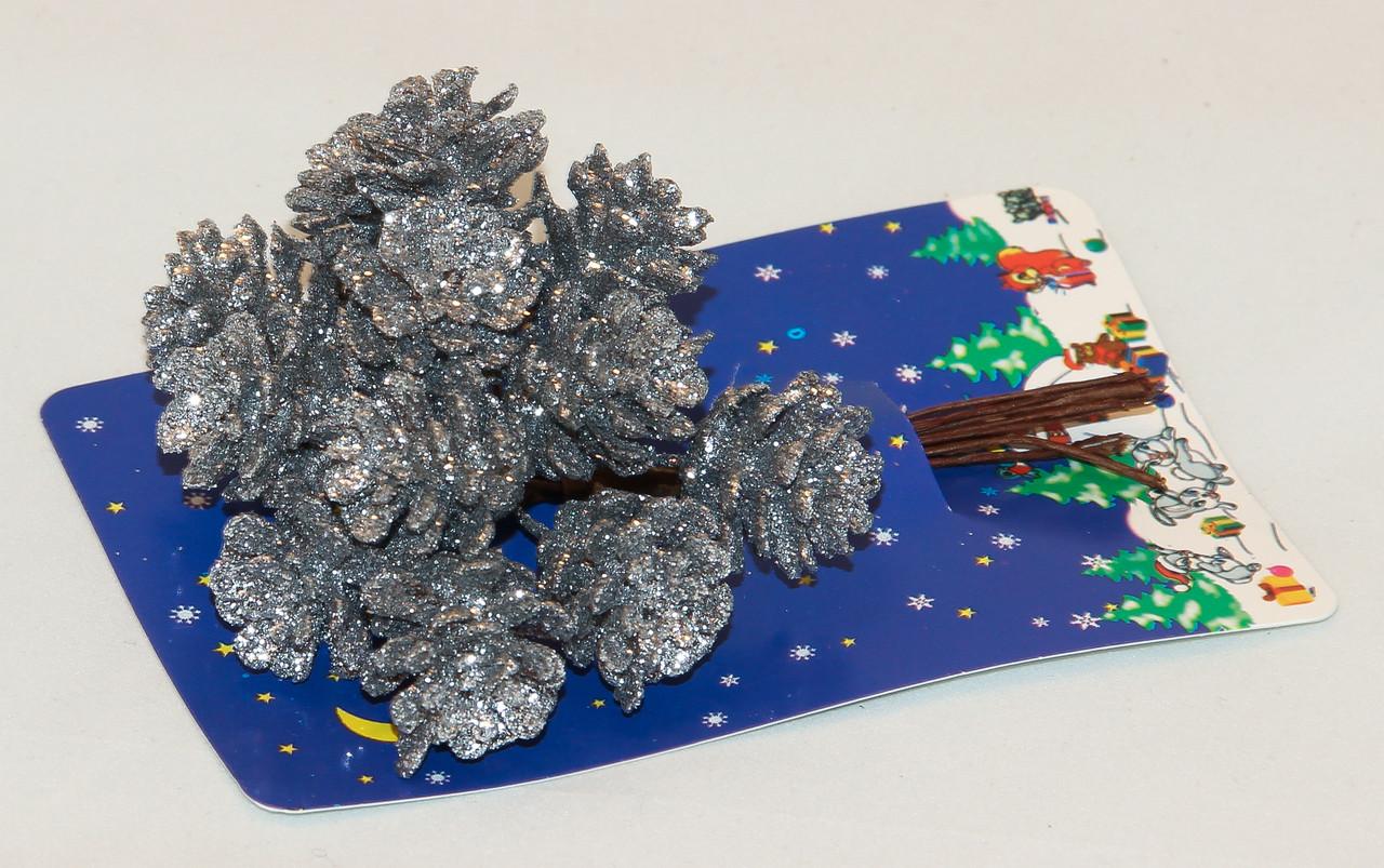 Декоративная веточка серебристые шишки, 12 см (450480)