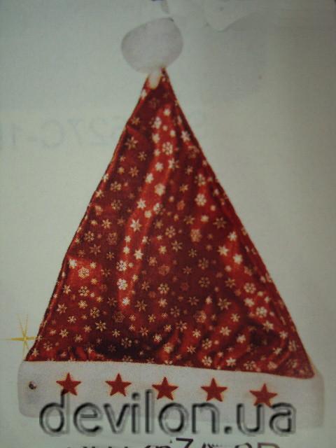 Новогодний колпак, красный, полиэстер (460342)