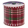 Декоративное украшение - ленточка в рулоне клетка, 3 м, 6,3 см, красный, полиэстер (080594-6), фото 3