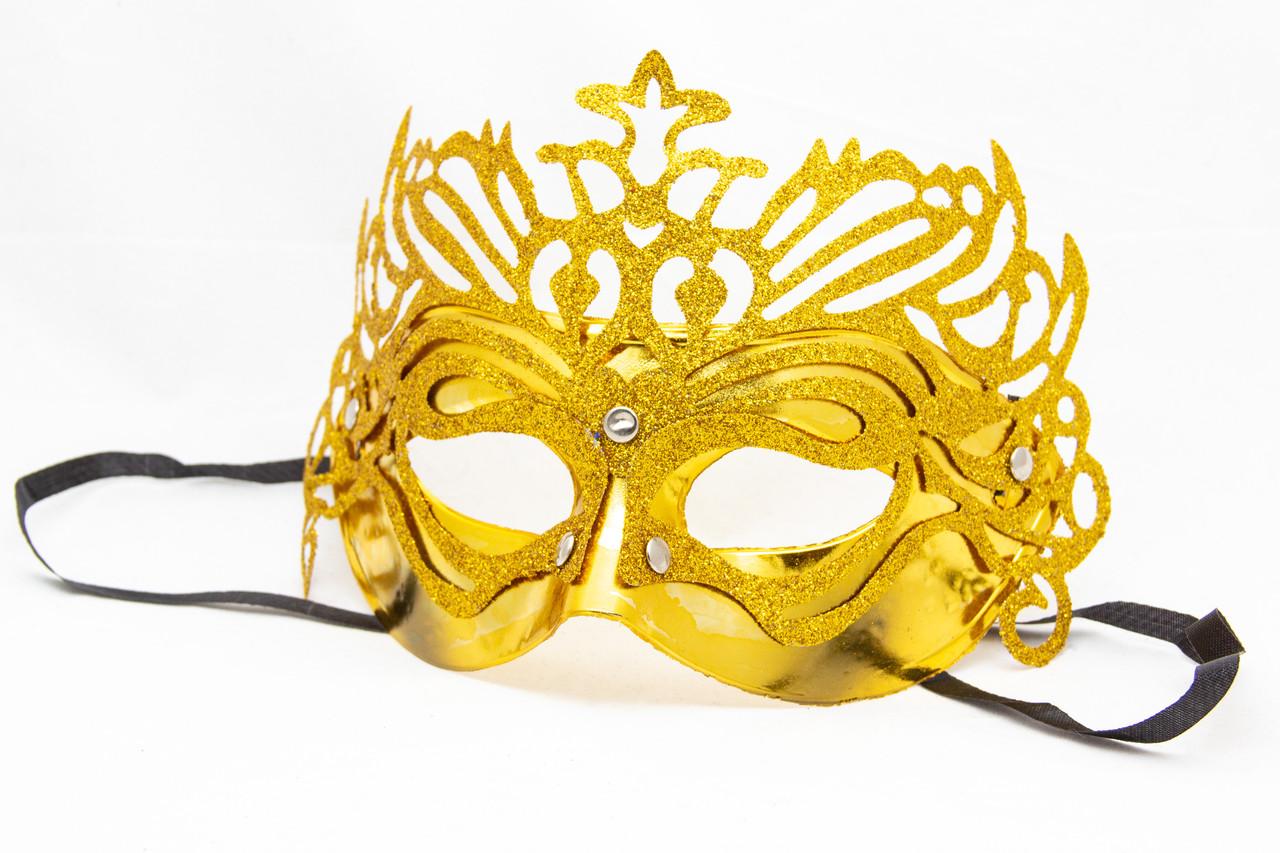 Маска карнавальная, 19*15 см, золотистый, пластик (461714-2)