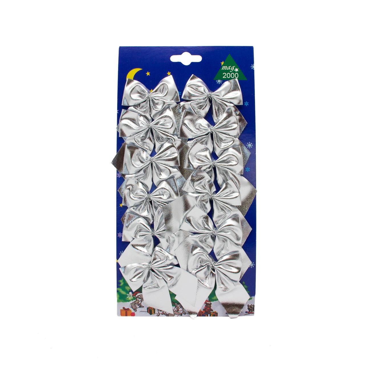 Набор елочных украшений - бантики, 12 шт, 6*5 см, серебристый, текстиль (471102-1)