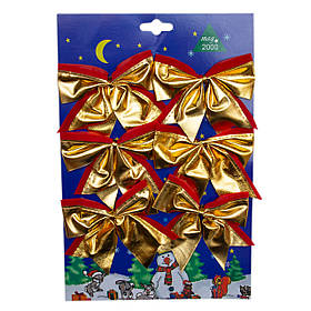 Набор елочных украшений - бантики, 6 шт, 9*6 см, золотистый с красным, текстиль (471089-2)