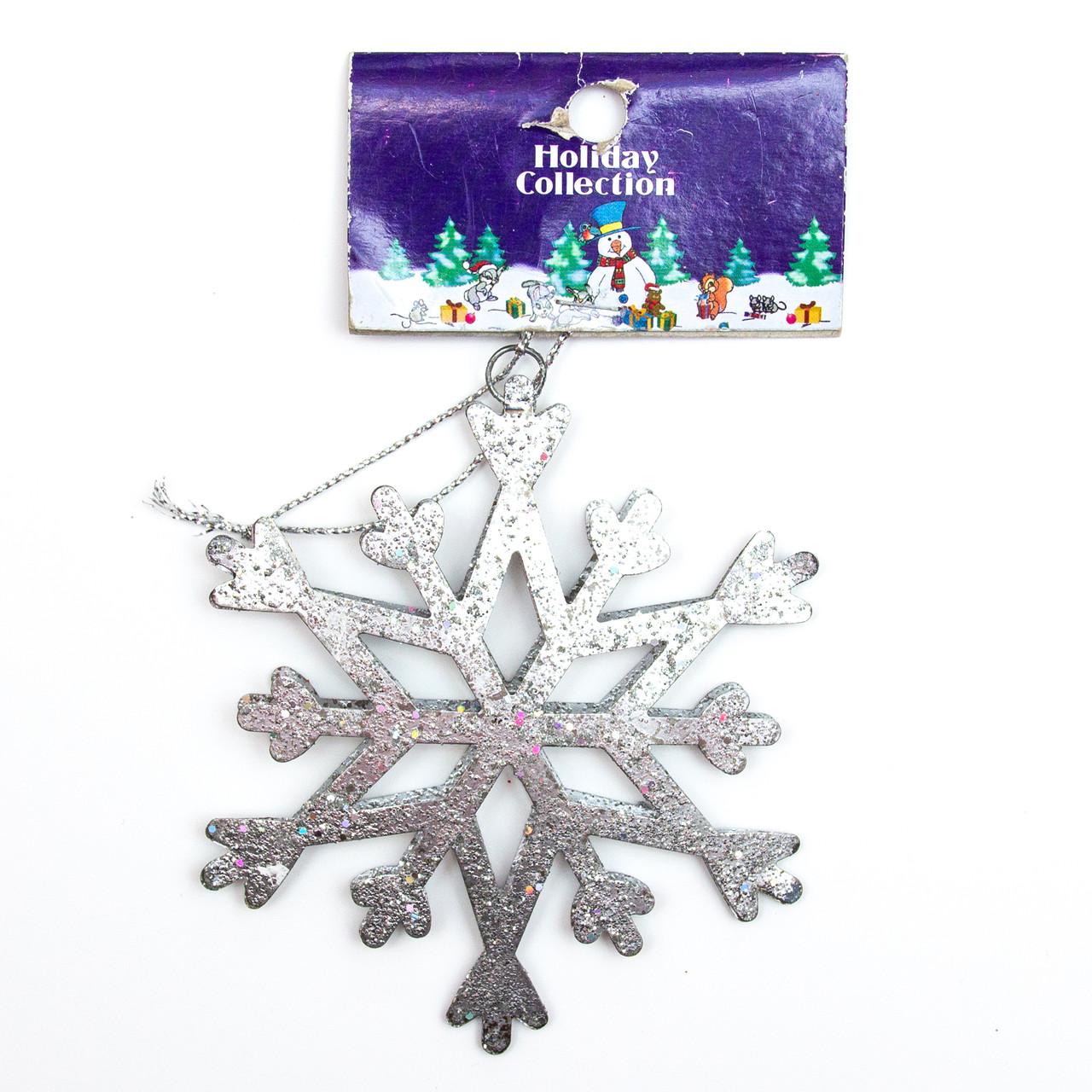 Фігурка на підвісці, метал, срібло сніжинка, 10см (000722-5)