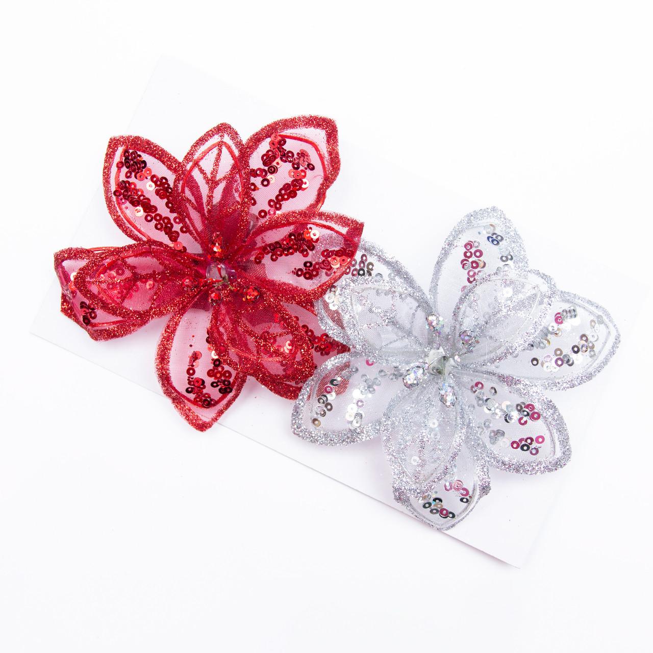 Набор елочных игрушек - цветы на клипсе, 2 шт, 11 см, красный, серебристый, органза (780150-1)
