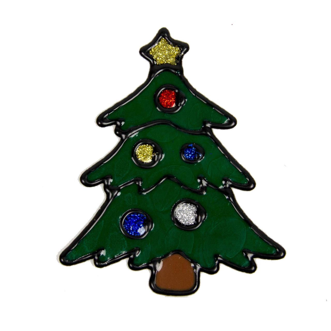 Новогоднее украшение - наклейка на окно елка, 10*10 см, зеленый, силикон (000449-4)