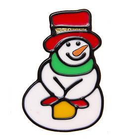 Витраж на окно, 10*10см, Снеговик в красной шапке, (000449-7)