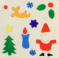 Витраж на окно, новогодние фигурки,18*18см, Дед Мороз, (000906-1)