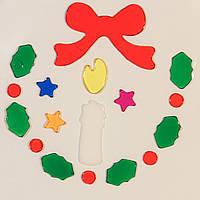 Витраж на окно, новогодние фигурки,18*18см, белая свечка, (000906-2)