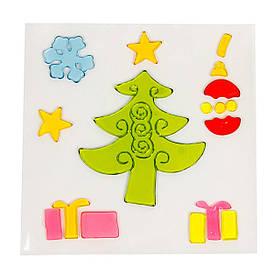 Витраж на окно, новогодние фигурки,18*18см, елка, (000906-3)