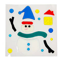 Витраж на окно, новогодние фигурки,18*18см, Снеговик, (000906-4)
