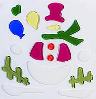 Витраж на окно, новогодние фигурки,18*18см, Снеговик без лица, (000906-6)