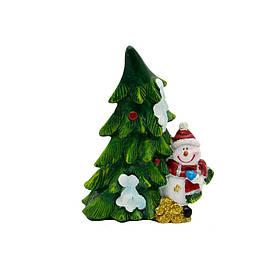 Фигурка сувенирная Снеговик с елкой слева (440481-1)