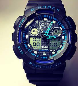 ЧАСЫ CASIO G-SHOCK GA-100  black with blue