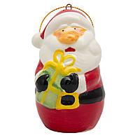Сувенирная фигурка из керамики, h-7,5 см, Дед Мороз с подарком в руках, (000173-3)