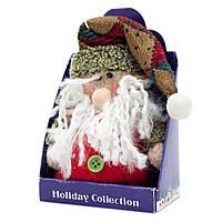 Мягкая игрушка сувенирная, Красный Дед Мороз с коричневой шапкой, 14 см (000029-4)