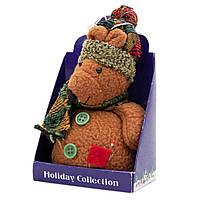 Мягкая игрушка сувенирная, коричневый медведь с красным карманом, 14 см (000029-15)