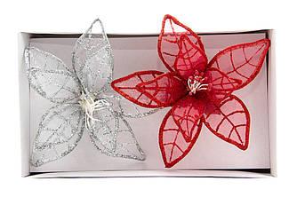 Набор елочных игрушек - цветы на клипсе, 2 шт, 11 см, красный, серебристый, органза (780167-1)