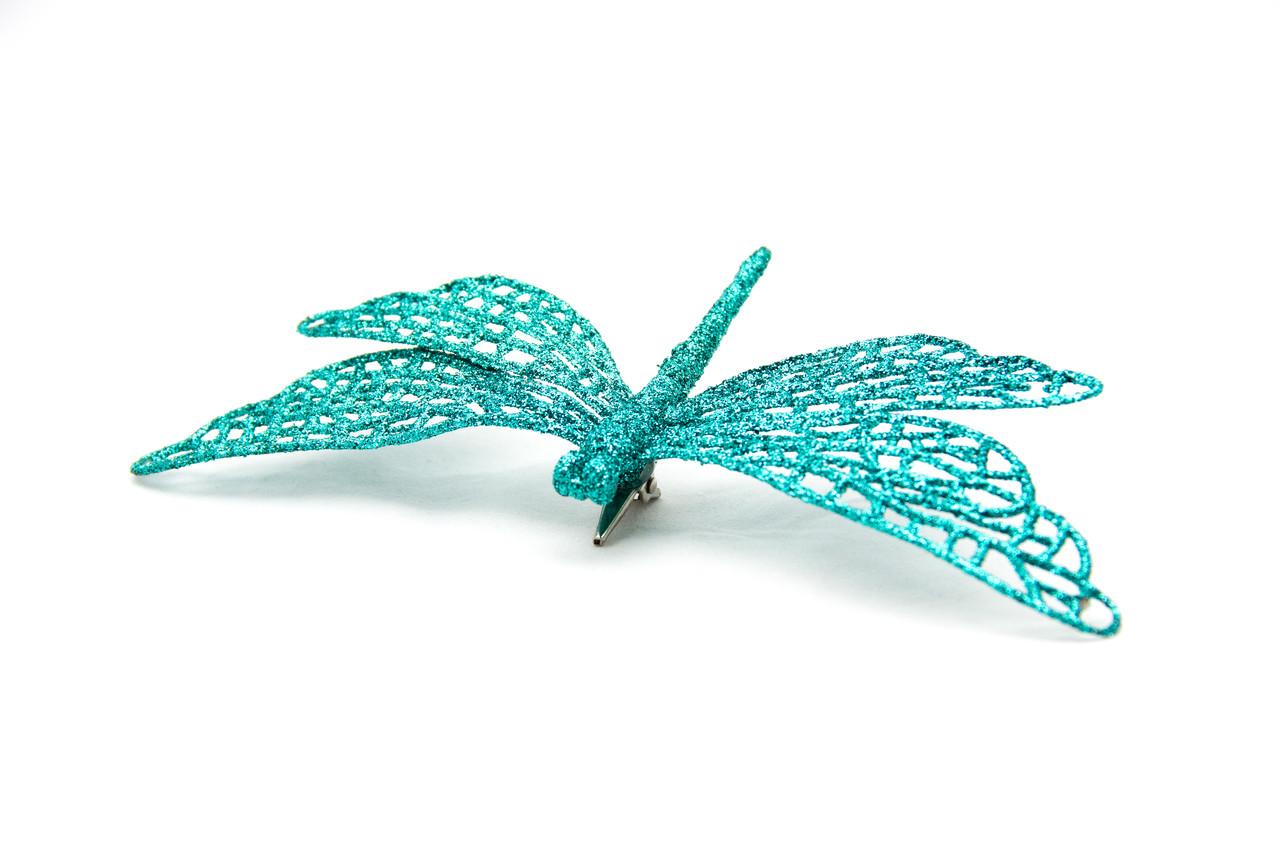 Елочная игрушка на клипсе - Стрекоза, 16,5 см, синий, пластик (001064-4)