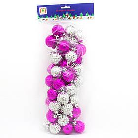 Комплект гранованих куль 4см*50шт, пластик, пурпурно-срібний (031603-5)