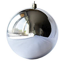 Шар пластиковый глянцевый d-10см, серебро (030484-1)