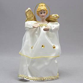 Новогодняя елочная игрушка - фигурка Ангел с крыльями, 15 см, золотой, пластик (000319-1)