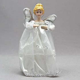 Новогодняя елочная игрушка - фигурка Ангел с крыльями, 15 см, серебристый, пластик (000319-2)
