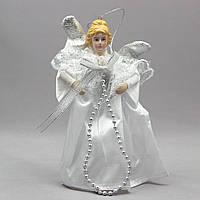 Фигурка сувенирная - Ангелы с крыльями 15 см, серебряный ангел с бантом (000319-3)