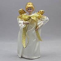 Фигурка сувенирная - Ангелы с крыльями 15 см, золотой ангел с бантом (000319-4)