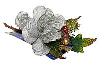 Декоративная веточка, 19см, серебро (450183-5)