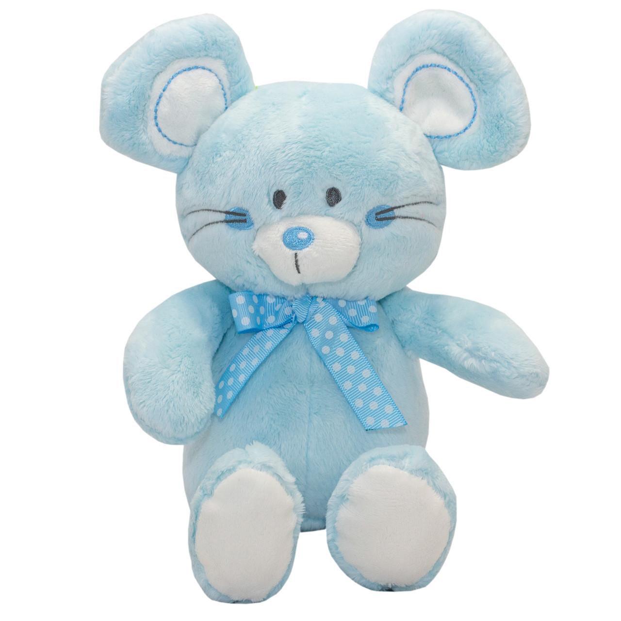 Мягкая игрушка - мышонок, 20 см, голубой, мех искусственный (C1811920A-2)