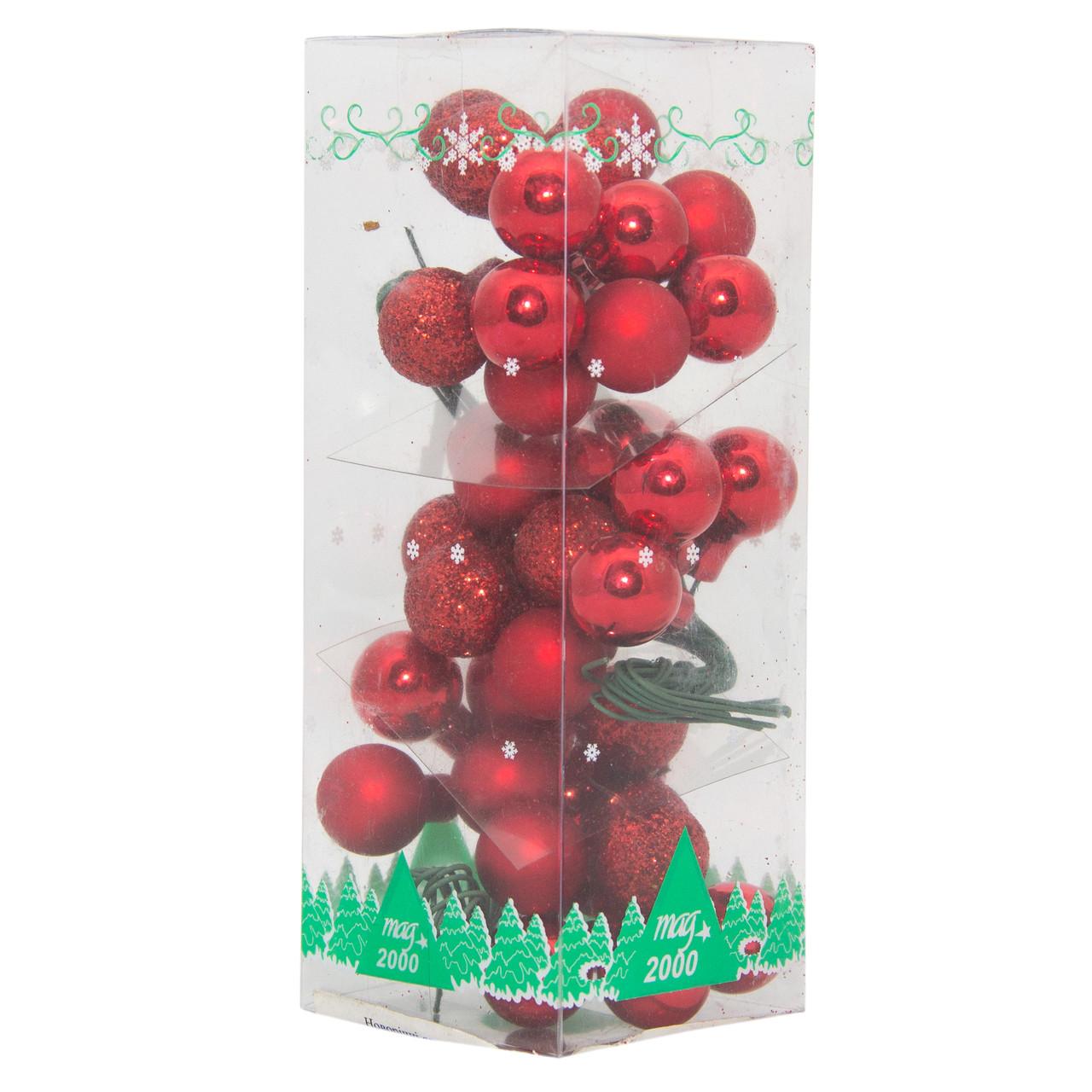 3 веточки шаров 1.5см*12 шт, стекло, красный (390571-3)