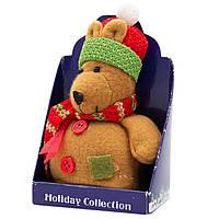 Мягкая игрушка сувенирная Коричневый медведь в красной шапке, 9см (000265-11)