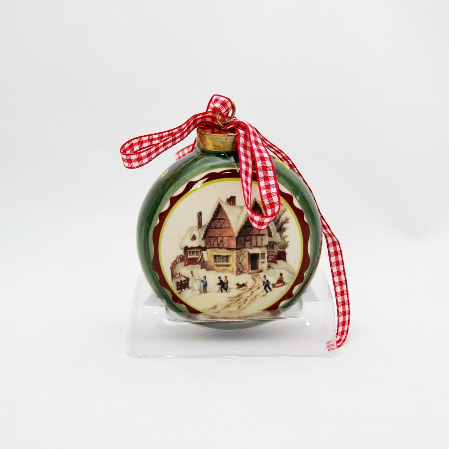 Сувенир из керамики на подвеске - плоский шар с рисунком домика, 7,6 см (000616-2)