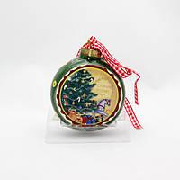 Сувенир из керамики на подвеске - плоский шар с рисунком елки с игрушками, 7,6 см (000616-4)