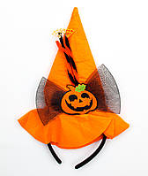 Шляпа-ободок хэллоуин с тыквой, черный бант (513276-1)