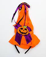 Шляпа-ободок хэллоуин с тыквой, фиолетовый бант (513276-2)