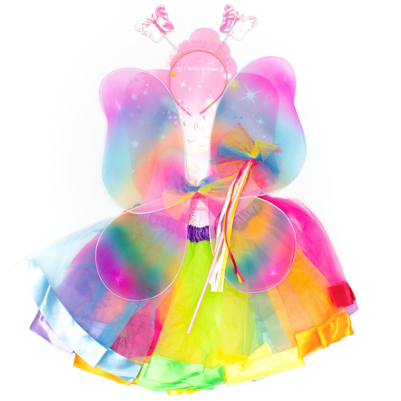 Карнавальный костюм бабочка, разноцветный - юбочка, крылья, тиара, волшебная палочка (513603)