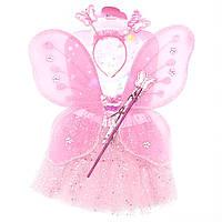 Карнавальный костюм бабочка, розовый - юбочка, крылья, тиара, волшебная палочка (513610-1)