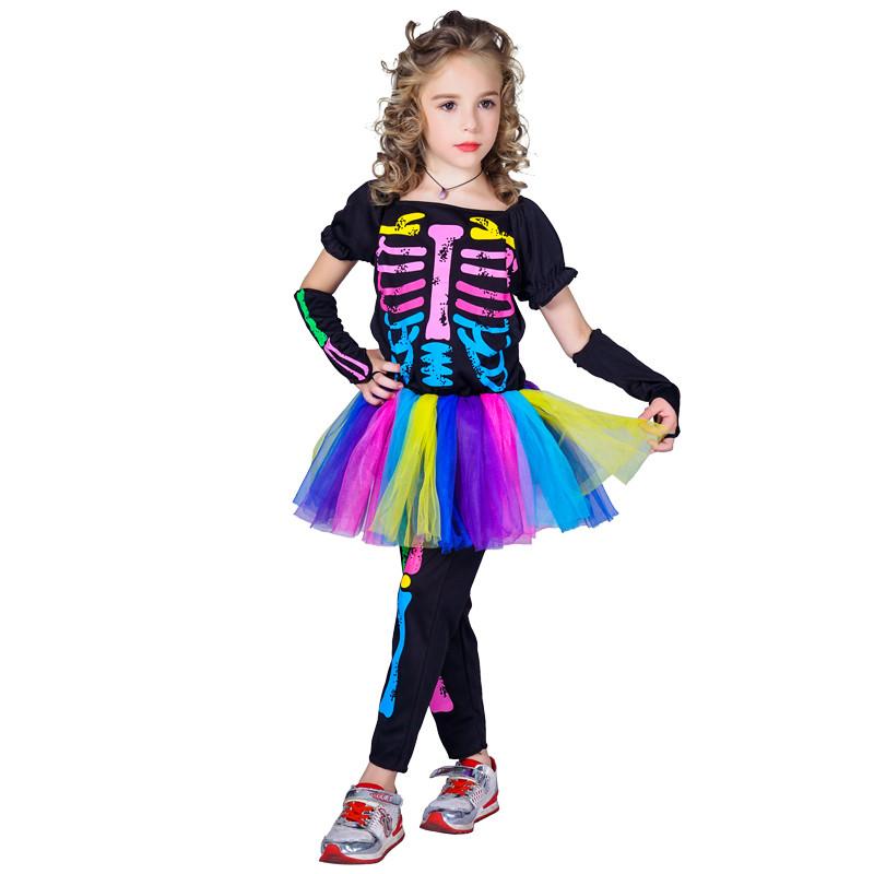 Костюм детский карнавальный скелет для девочки, рост 110-120 см, черный (CC315B)