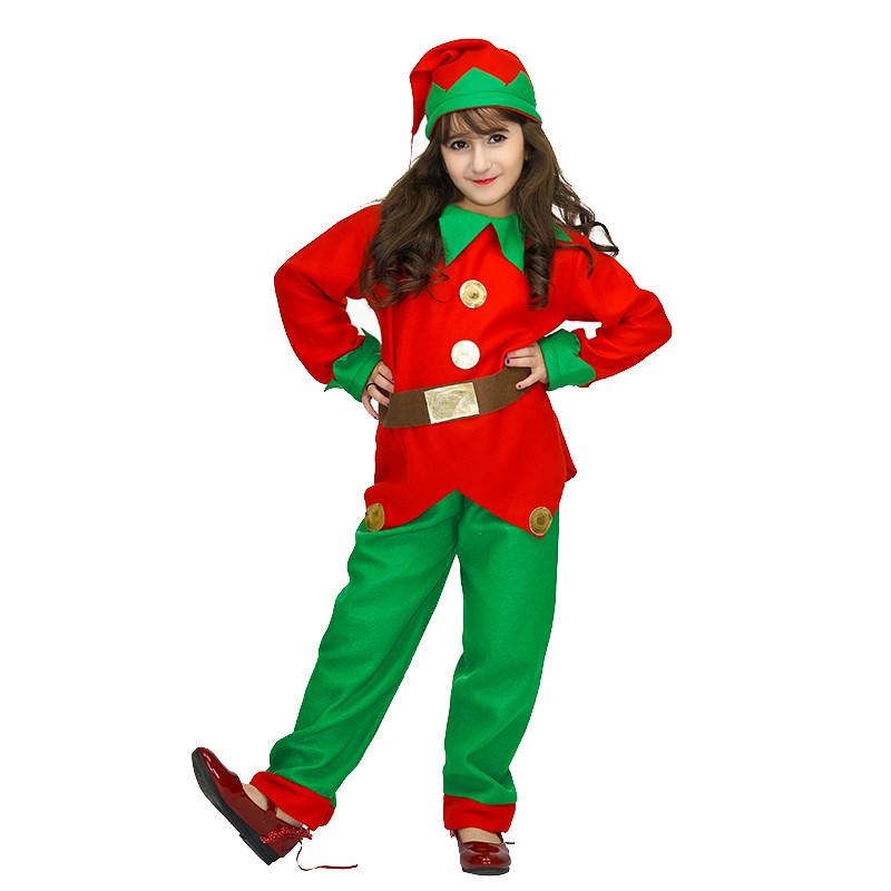 Костюм детский карнавальный новогодний эльф (гном), рост 92-104 см, красный с зеленым (EE013A)