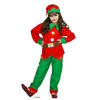 Костюм детский карнавальный новогодний эльф (гном), рост 92-104 см, красный с зеленым (EE013A), фото 1