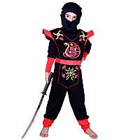 Костюм детский карнавальный ниндзя, рост 92-104 см, черный (EE208А), фото 1