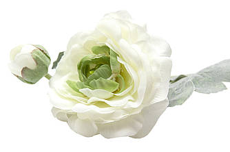 Искусственный цветок Лютик, ткань, пластик, 35 см, белый (630065)