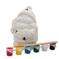 Детский набор для творчества - снеговик светящийся, 6 красок, кисточка, (791620)