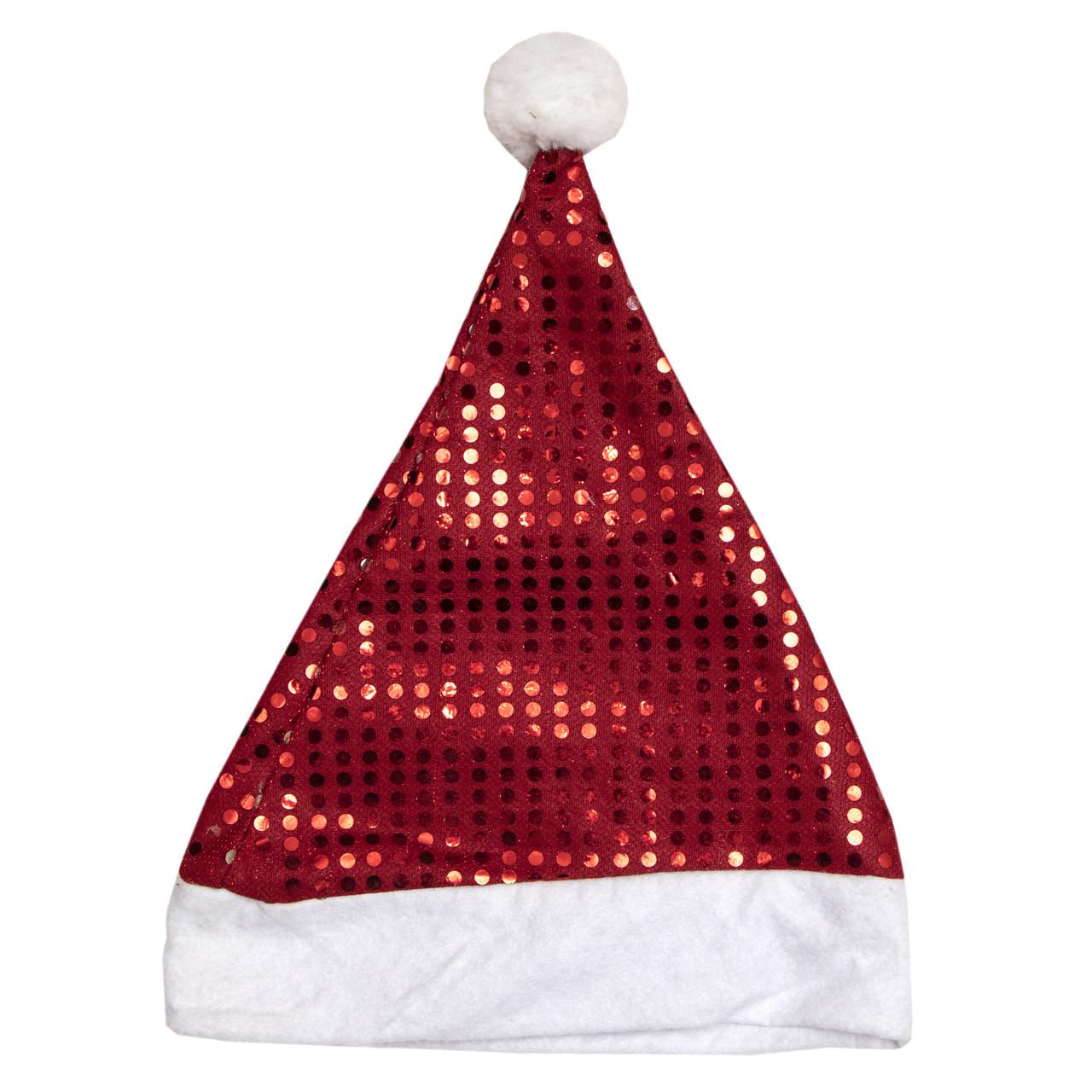 Новорічний карнавальний ковпак червоний з блискітками, 58-60 см, поліестер (461134)