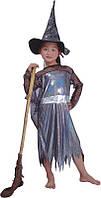 Детский карнавальный костюм ведьмы, платье, колпак, черный, органза (8 лет - 126 см) (460526-3)