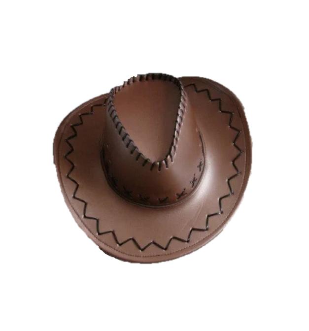 Шляпа кожаная, коричневая (460113-7)
