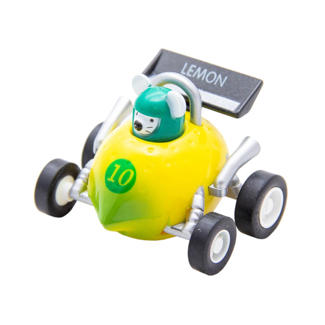Игрушка инерционная - мышонок-гонщик Aohua, машинка в форме лимона, 4,5 см, пластик (MR-12C-1)