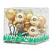 Ялинкова іграшка - гілочка міні-кульок, D1,5 см, золотистий, мікс, скло (390557-2), фото 2