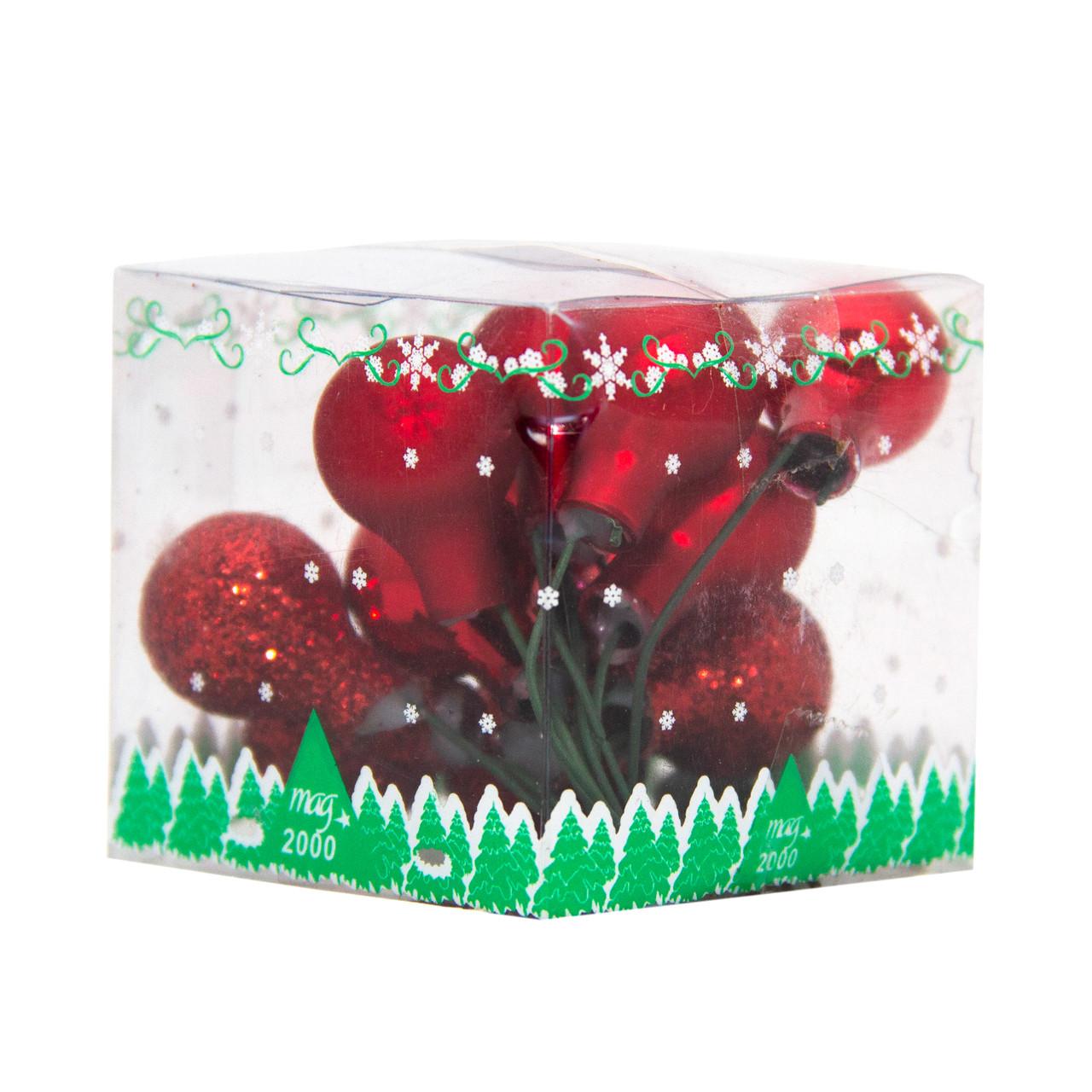 Ялинкова іграшка - гілочка міні-кульок, D1,5 см, червоний, мікс, скло (390557-3)